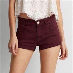 American Eagle Maroon Jean Shorts